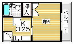 大阪府茨木市真砂1丁目の賃貸アパートの間取り