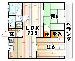 福岡県北九州市小倉南区徳吉東1丁目の賃貸マンションの間取り