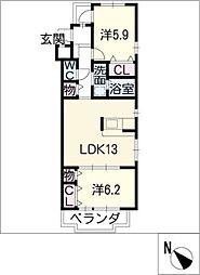 ドミールTF[3階]の間取り