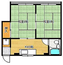 コーポオクムラ3階Fの間取り画像