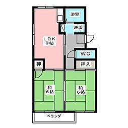 ロイヤルハイツ A棟[2階]の間取り