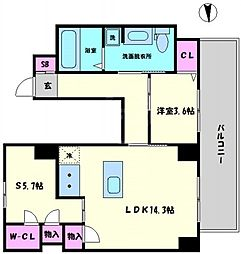 リンクハウス南堀江 8階2LDKの間取り
