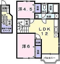 バーリーグリフィンF2[2階]の間取り