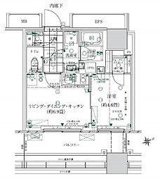 ローレルタワールネ浜松町 5階1LDKの間取り