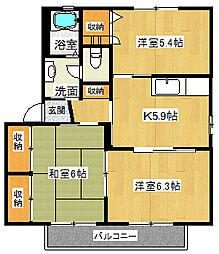 サウセノルテI[1階]の間取り