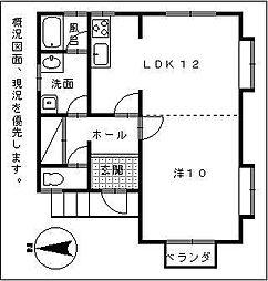 宮崎県宮崎市恒久6丁目の賃貸アパートの間取り