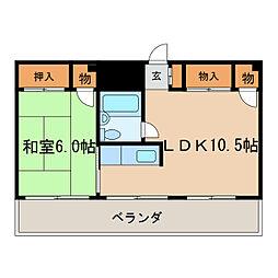 中駒新栄レオンビル[6階]の間取り