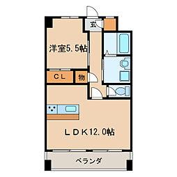 愛知県名古屋市東区徳川1丁目の賃貸マンションの間取り