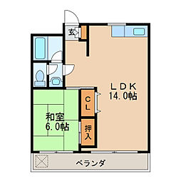 第16オオタビル 6階1LDKの間取り