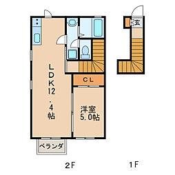 スカイハイツ[1階]の間取り