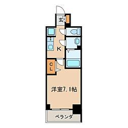 プレサンス桜通ベルノ 8階1Kの間取り