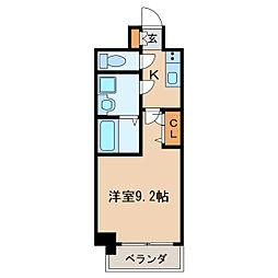 プレサンス栄フェル 15階1Kの間取り