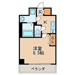 レジデンシア泉I 3階1Kの間取り