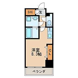 レジデンシア泉II 9階ワンルームの間取り