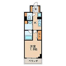パークアクシス新栄 11階1Kの間取り