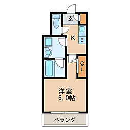 ディアレイシャス新栄 8階1Kの間取り
