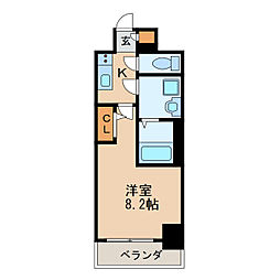 エスリード新栄プライム 5階1Kの間取り