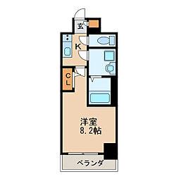 エスリード新栄プライム 8階1Kの間取り