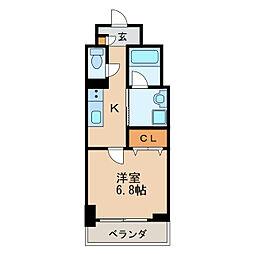 アクアエテルナ泉 1階1Kの間取り