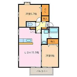 ルミエールTM A・B[2階]の間取り
