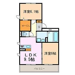エクレール A棟[2階]の間取り