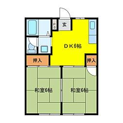 三重県鈴鹿市長太旭町3丁目の賃貸アパートの間取り