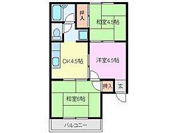 三重県鈴鹿市白子1丁目の賃貸アパートの間取り