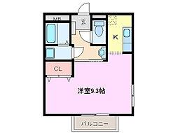 三重県亀山市東御幸町の賃貸アパートの間取り