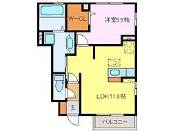 グランディールD棟[1階]の間取り