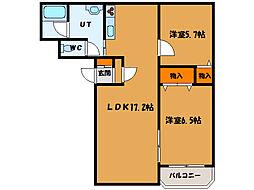 北海道函館市石川町の賃貸マンションの間取り