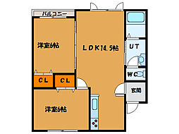 北海道北斗市飯生3丁目の賃貸アパートの間取り