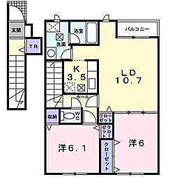 北海道函館市桔梗5丁目の賃貸アパートの間取り