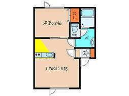 北海道函館市美原2丁目の賃貸アパートの間取り