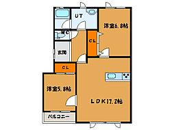 北海道函館市白鳥町の賃貸アパートの間取り