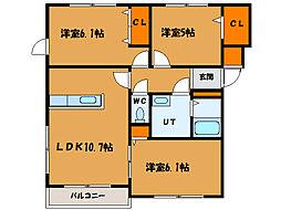 北海道函館市海岸町の賃貸マンションの間取り