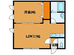 北海道函館市柏木町の賃貸アパートの間取り