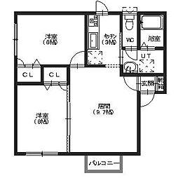北海道函館市日吉町3丁目の賃貸アパートの間取り