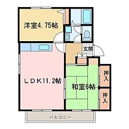 メゾントレビXI[2階]の間取り