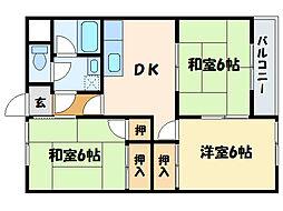 船木ハイツ1[2階]の間取り