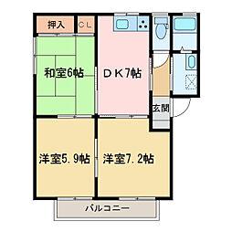 シャーメゾン佐藤 C・D棟[C206号室]の間取り