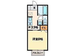 メゾントレビX[1階]の間取り