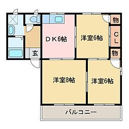メゾントレビXIII[1階]の間取り