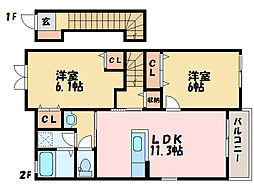 ICサイドB[2階]の間取り