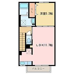 西原町1丁目アパート[A202号室]の間取り