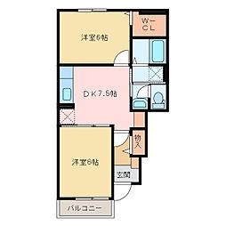 国領1丁目アパート A・B[A102号室]の間取り