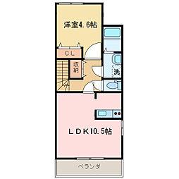 愛媛県新居浜市寿町の賃貸アパートの間取り
