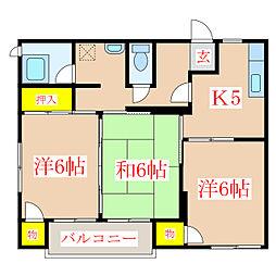 アーバンハイツSA[1階]の間取り