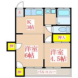 中央コーポ[2階]の間取り