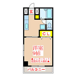 リバーロードマンション 3階1Kの間取り