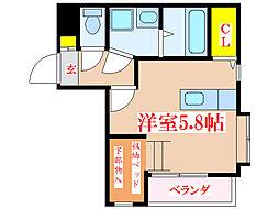 鹿児島市電1系統 鴨池駅 徒歩5分の賃貸マンション 4階ワンルームの間取り
